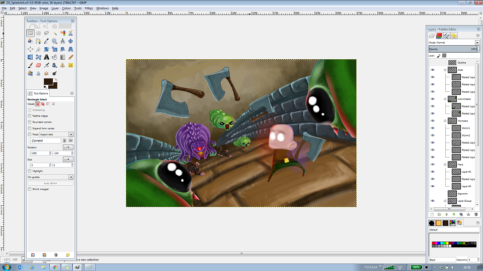 Worm Heads in the Splash Screen